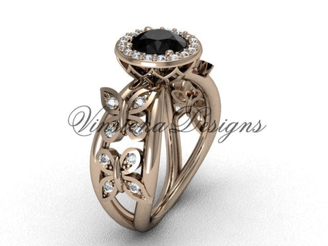 14kt rose gold butterfly engagement ring, Black Diamond VF301013 - Vinsiena Designs