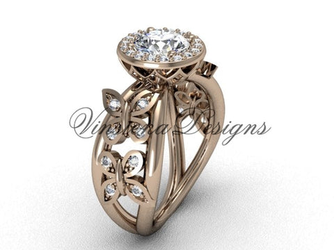 14kt rose gold butterfly engagement ring VF301013 - Vinsiena Designs