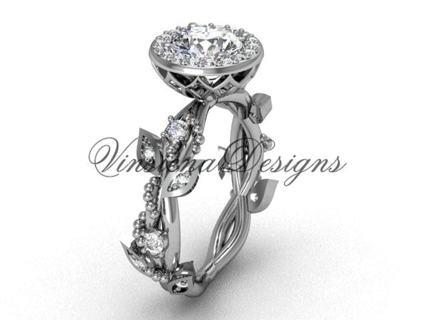 "platinum diamond leaf and vine engagement ring, ""Forever One"" Moissanite VF301018 - Vinsiena Designs"