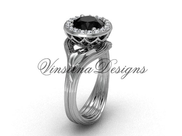platinum diamond leaf and vine engagement ring, Black Diamond VF301019 - Vinsiena Designs