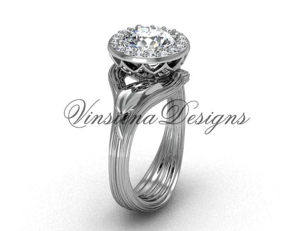 "platinum diamond leaf and vine engagement ring, ""Forever One"" Moissanite VF301019 - Vinsiena Designs"