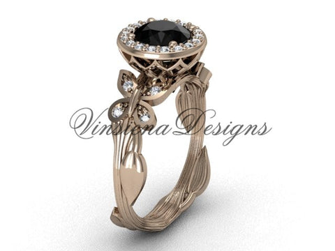 14kt rose gold butterfly, leaf and vine engagement ring, Black Diamond VF301020 - Vinsiena Designs