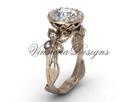 14kt rose gold butterfly, leaf and vine engagement ring VF301020 - Vinsiena Designs