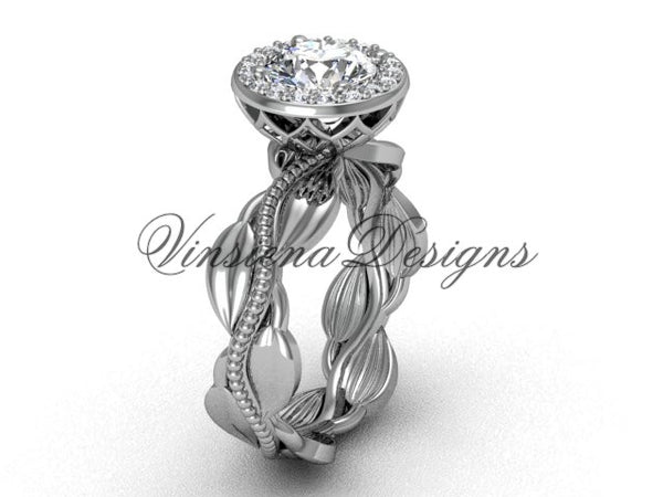 "platinum diamond leaf and vine engagement ring, ""Forever One"" Moissanite VF301021 - Vinsiena Designs"