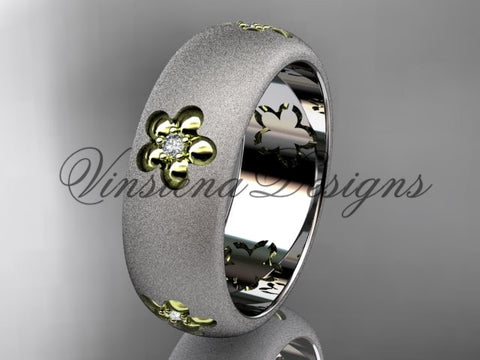 14kt platinum matte finish, floral, two tone engagement ring, wedding band VF301023B