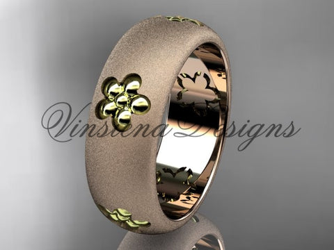 14kt two tone matte finish gold, floral engagement ring, wedding band VF301023G