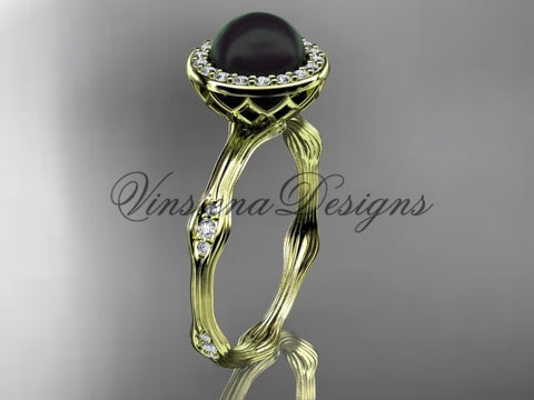 14k yellow gold pearl,diamond, halo engagement ring VFBP301011 - Vinsiena Designs