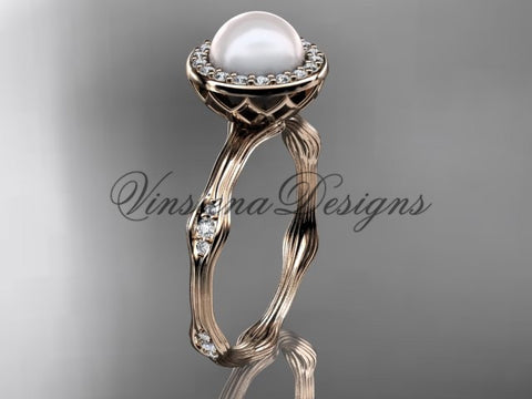 14k rose gold pearl, diamond, halo engagement ring VFP301011