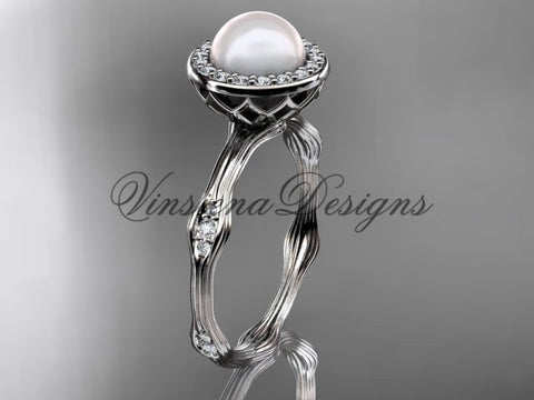 14k white gold pearl, diamond, halo engagement ring VFP301011