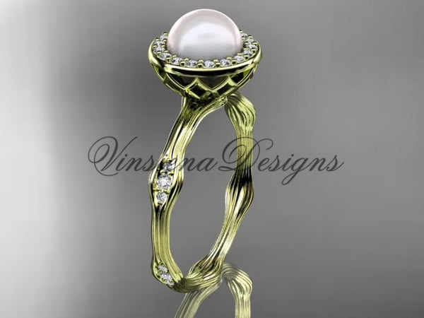 14k yellow gold pearl, diamond, halo engagement ring VFP301011 - Vinsiena Designs
