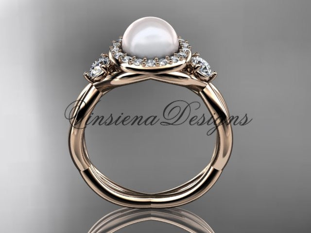 14kt Rose Gold Diamond, Pearl Engagement Ring VP8127
