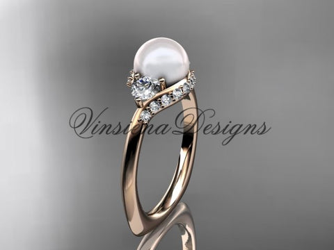 14kt rose gold unique diamond pearl engagement ring VP8225