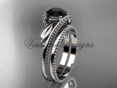 Unique 14kt white gold engagement ring set. Enhanced Black Diamond ADLR322S - Vinsiena Designs