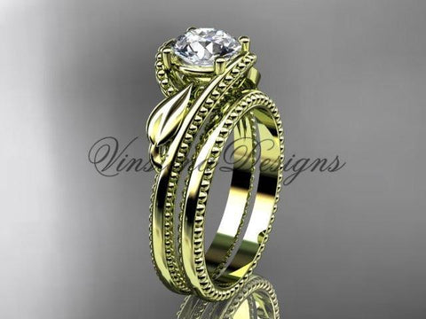 "Unique 14kt yellow gold engagement set, ""Forever One"" Moissanite ADLR322S - Vinsiena Designs"