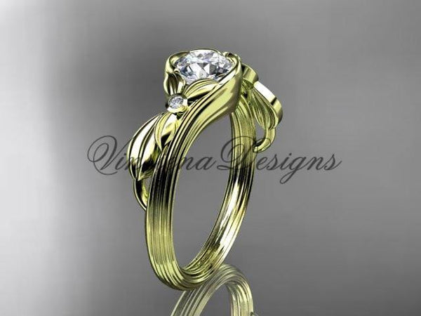 Unique 14kt yellow gold diamond floral engagement ring ADLR324 - Vinsiena Designs