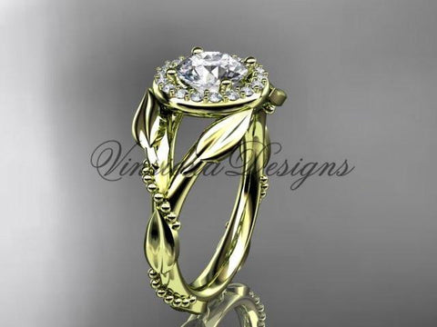 "Unique 14k yellow gold diamond engagement ring ""Forever One"" Moissanite ADLR328 - Vinsiena Designs"