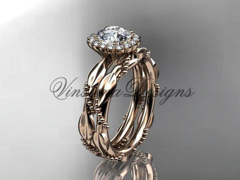 "14k rose gold diamond engagement set ""Forever One"" Moissanite ADLR337S"