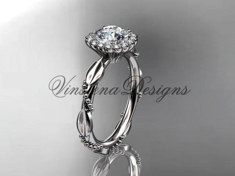 14kt white gold diamond leaf, vine wedding, engagement ring ADLR337 - Vinsiena Designs