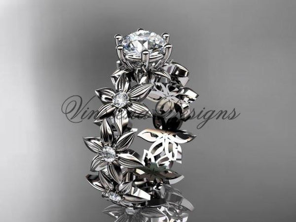 Unique platinum diamond floral engagement ring ADLR339P - Vinsiena Designs