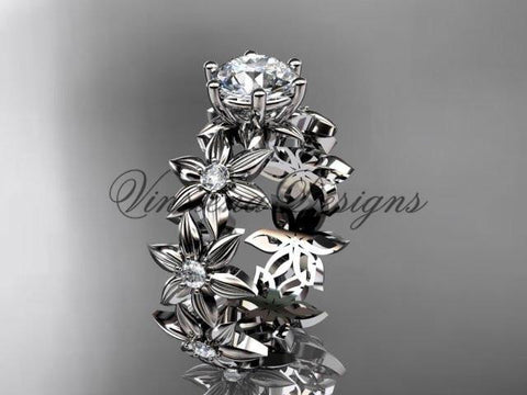 Unique 14k white gold diamond floral engagement ring ADLR339 - Vinsiena Designs
