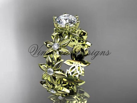 Unique 14k yellow gold diamond floral engagement ring ADLR339 - Vinsiena Designs