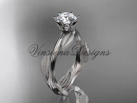 Unique 14k white gold leaf and vine engagement ring, wedding ring ADLR343 - Vinsiena Designs
