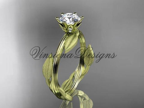 Unique 14kt yellow gold leaf and vine engagement ring, wedding ring ADLR343 - Vinsiena Designs