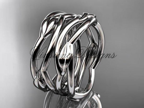 14kt white gold leaf and vine wedding ring, wedding band ADLR351B