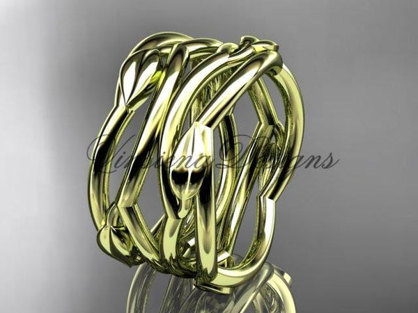 14kt yellow gold leaf and vine wedding ring, wedding band ADLR351B