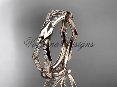 14k rose gold diamond leaf and vine wedding ring, engagement ring ADLR353B