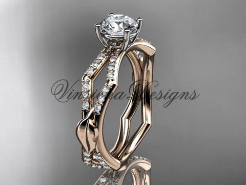 14kt rose gold diamond leaf and vine, engagement ring Moissanite ADLR353