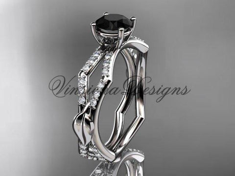Platinum diamond leaf and vine, engagement ring, Enhanced Black Diamond ADLR353