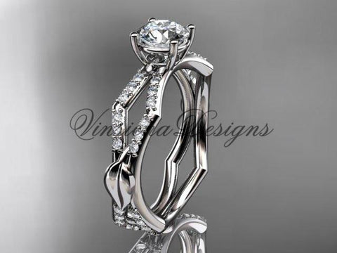 14kt white gold diamond leaf and vine, engagement ring Moissanite ADLR353