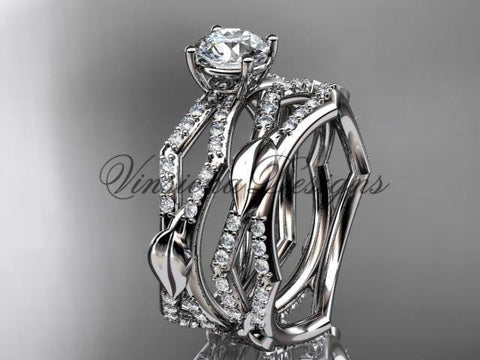 14kt white gold diamond leaf and vine wedding ring, engagement set ADLR353S