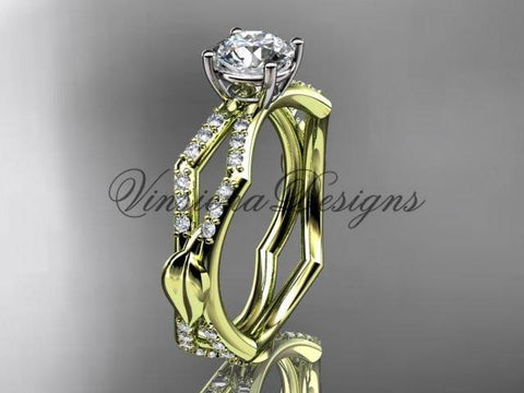 14kt yellow gold diamond leaf and vine wedding ring, engagement ring ADLR353