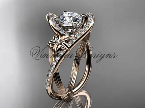 "14k rose gold diamond unique engagement ring ""Forever One"" Moissanite ADLR369"