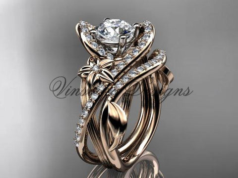 14k rose gold  diamond unique engagement set, wedding ring ADLR369S - Vinsiena Designs