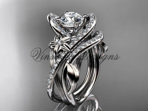 14k white gold  diamond unique engagement set, wedding ring ADLR369S