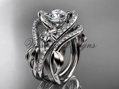14kt white gold diamond engagement ring set One Moissanite double band  ADLR369S