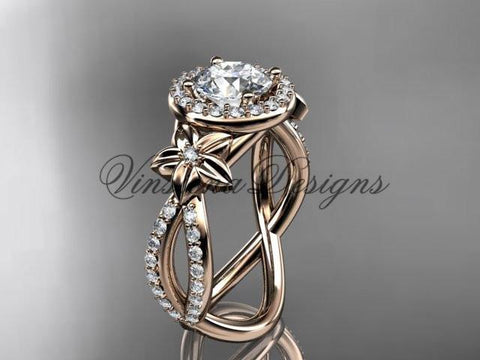 14k rose gold diamond unique engagement ring, wedding ring ADLR374