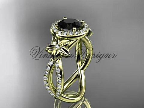 14k yellow gold diamond unique engagement ring, Enhanced Black Diamond ADLR374 - Vinsiena Designs