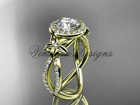 14k yellow gold diamond unique engagement ring, wedding ring ADLR374 - Vinsiena Designs