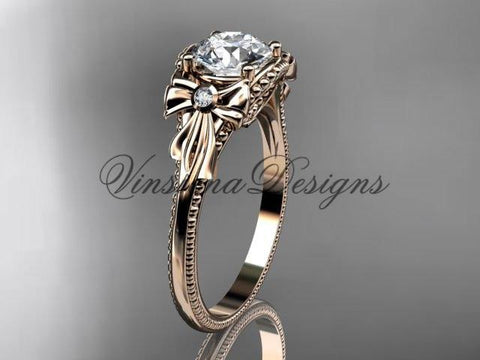14k rose gold leaf and flower diamond unique engagement ring ADLR376