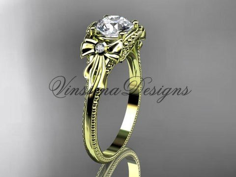 14k yellow gold leaf and flower diamond unique engagement ring ADLR376 - Vinsiena Designs