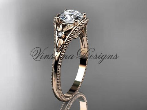 14k rose gold leaf and flower diamond unique engagement ring ADLR377