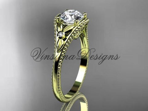 14k yellow gold leaf and flower diamond unique engagement ring ADLR377 - Vinsiena Designs