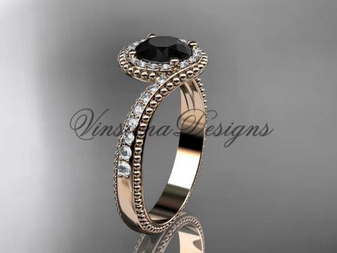 14k rose gold halo diamond engagement ring, Enhanced Black Diamond ADLR379