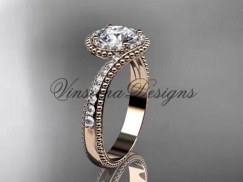 14k rose gold halo diamond engagement ring ADLR379 - Vinsiena Designs