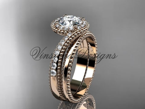 14kt rose gold halo diamond engagement ring set ADLR379S
