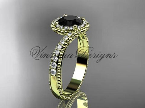 14k yellow gold halo diamond engagement ring, Enhanced Black Diamond ADLR379 - Vinsiena Designs
